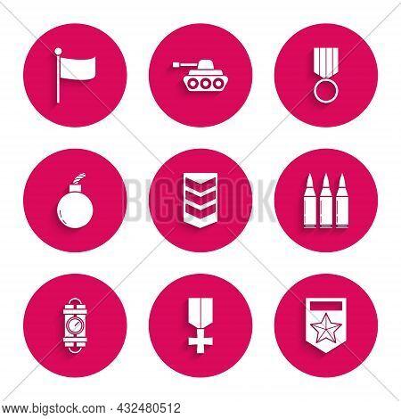 Set Military Rank, Reward Medal, Chevron, Bullet, Detonate Dynamite Bomb Stick And Timer Clock, Bomb