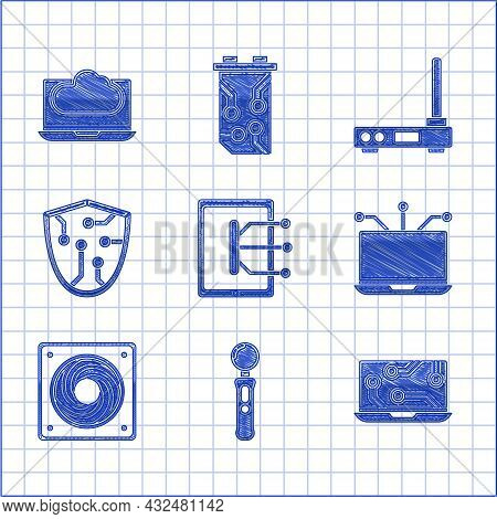 Set Tablet, Gamepad, Laptop, Computer Cooler, Cyber Security, Router And Wi-fi Signal And Cloud Tech