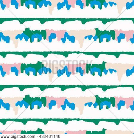 Playful Fresh Geo Doodle Shape Seamless Background. Modern Trendy Minimal Retro Style Motif Pattern.