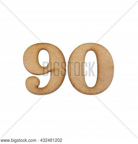 Number 90 In Wood, Isolated On White Background
