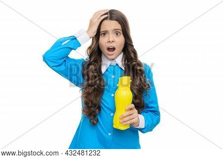 Dried Out From Thirst. Desperate Child Hold Yellow Plastic Bottle. Thirst And Dehydration