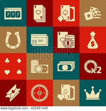 Set Crown, Casino Chips, Money Bag, Playing Card With Spades, Credit, Horseshoe, Online Slot Machine