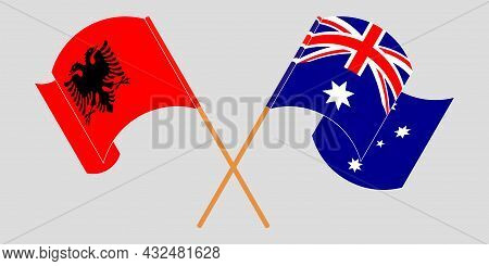 Crossed And Waving Flags Of Albania And Australia