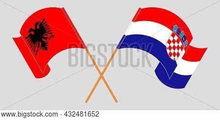 Crossed And Waving Flags Of Albania And Croatia