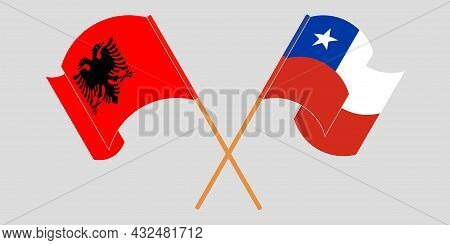 Crossed And Waving Flags Of Albania And Chile