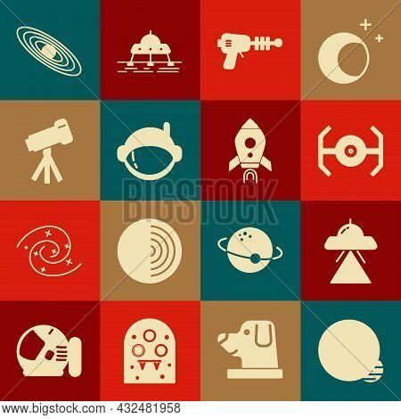 Set Planet, Ufo Flying Spaceship, Cosmic, Ray Gun, Astronaut Helmet, Telescope, And Rocket With Fire