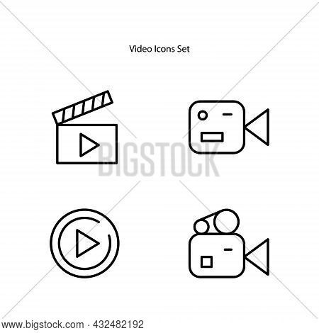 Video Vector Icons, Video App Icon. Video Player Icon Illustration. Video Icon Flat Design Vector Fo