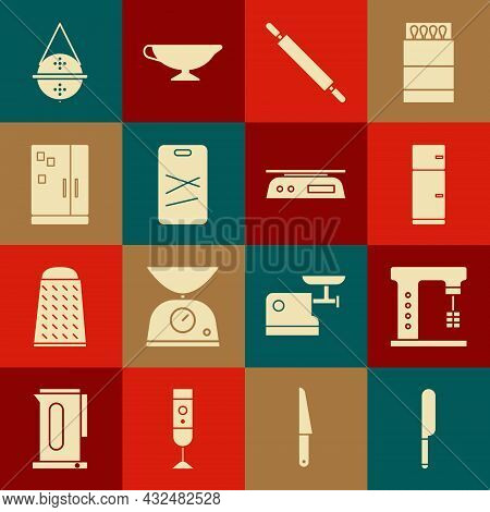 Set Knife, Electric Mixer, Refrigerator, Rolling Pin, Cutting Board, Ball Tea Strainer And Electroni