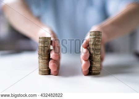 Separating Money Stack In Divorce. Saving Income