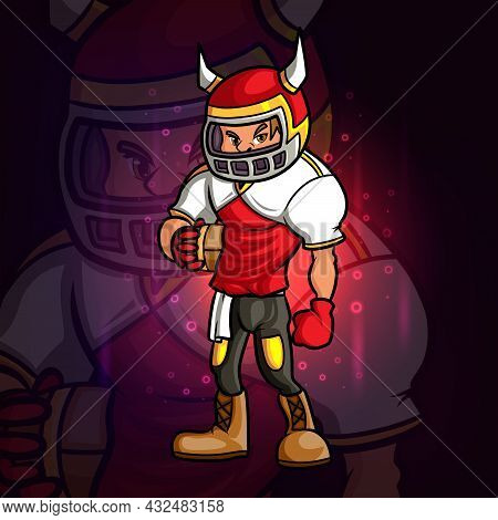 The Cool Rugby Player Esport Mascot Design Of Illustration
