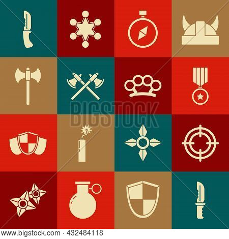 Set Military Knife, Target Sport, Reward Medal, Compass, Crossed Medieval Axes, Medieval, And Brass