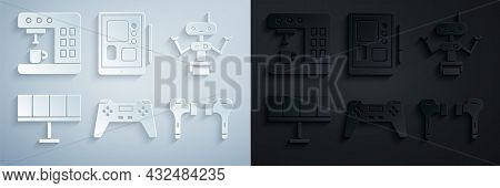 Set Gamepad, Robot, Solar Energy Panel, Air Headphones, Graphic Tablet And Coffee Machine Icon. Vect