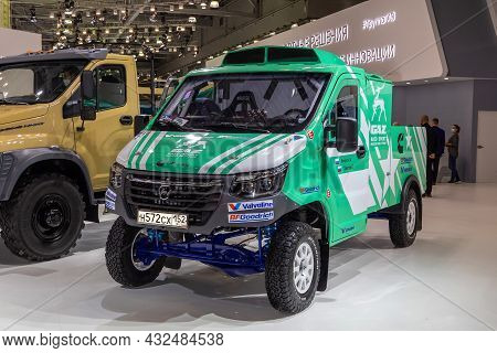 Sports Car Based On Gazelle Next Lcv. Rally Car For Off-road Racing. Gaz Stand At The International
