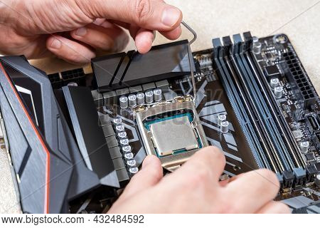 Installing A Blank Central Processor On A Motherboard. The Blank Cpu Is Installed In The Motherboard