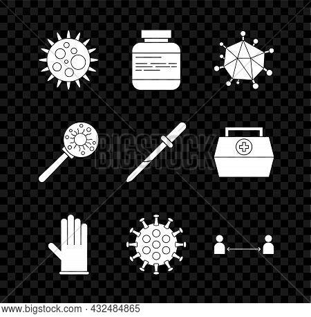 Set Virus, Medicine Bottle And Pills, Medical Rubber Gloves, Safe Distance, Under Magnifying Glass A