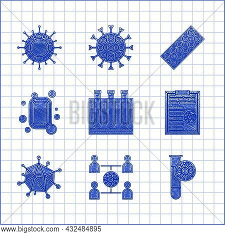 Set Blood Test And Virus, Virus Spread, Test Tube With, Clipboard Blood Results, Bar Of Soap, Pills