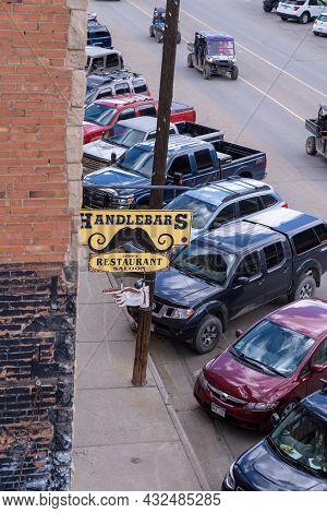 Silverton, Colorado - August 3, 2021: Handlebars 1800s Restaurant Saloon Along Main Street