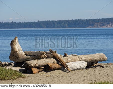 Driftwood Piled Up Artfully On The Island View Beach, Vancouver Island, Bc