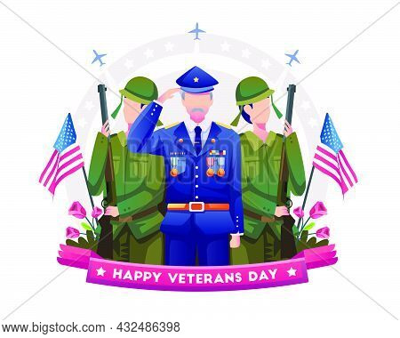 Veteran And Soldiers Are Honoring And Celebrating Veterans Day. Vector Illustration