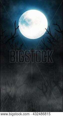 Vertical Halloween Background With A Haunted House, Bats And Pumpkins, Graves, At Misty Night Spooky