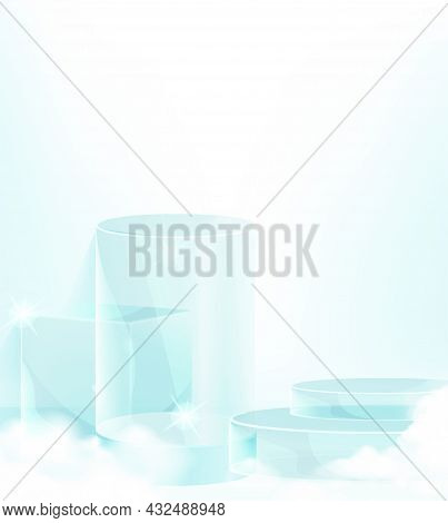 Minimal Scene With Blue Podium And Cloud Abstract Blue Background Scene Studio Or Pedestal For Displ