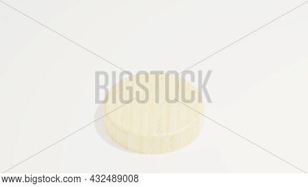 Wood Podium Minimalist On White Background. 3d Illustration Rendering . Modern . Simple . Minimalist