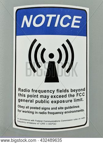 Radio Frequency Exposure Notice On Cell Phone Tower.