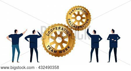 Corporate Office Manager Businessman Working Together Analyze Cogs Wheel Gear Team Work Collaboratio