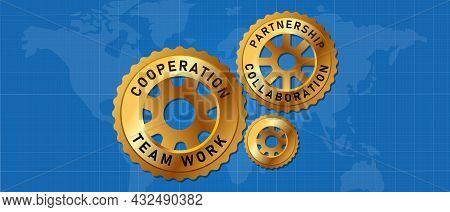 Cogs Wheel Gear With Map Global Partnership International Team Work Collaboration Cooperation
