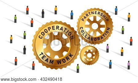 Cogs Wheel Crowd Society Community Public Together Team Work Collaboration Cooperation Partnership S