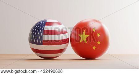 Usa And China Flag Pint Screen On Balls For Tariff Trade War And Military War Between Both Countries