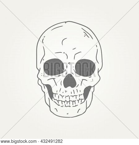 Ghost Skull Hand Draw Line Art Icon Logo Template Vector Illustration Design. Spooky Skull Head T-sh