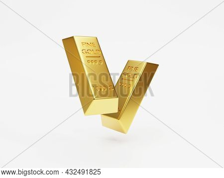 Isolated Of Two Gold Bar Or Gold Ingot Stacking On White Background By 3d Rendering Technique.