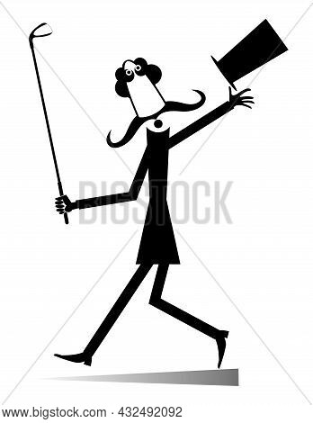 Long Mustache Man In The Top Hat Goes To Play Golf Isolated Illustration.  Walking Cartoon Long Must