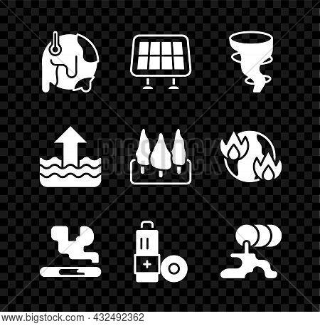 Set Global Warming, Solar Energy Panel, Tornado, Cigarette, Battery, Barrel Oil Leak, Rise Water Lev