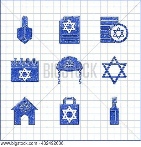 Set Jewish Kippah, Shopping Bag With Star Of David, Wine Bottle, Star David, Synagogue, Calendar, Co