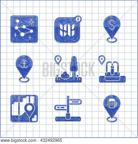 Set City Map Navigation, Road Traffic Sign, Alcohol Or Beer Bar Location, Location With Fountain, An
