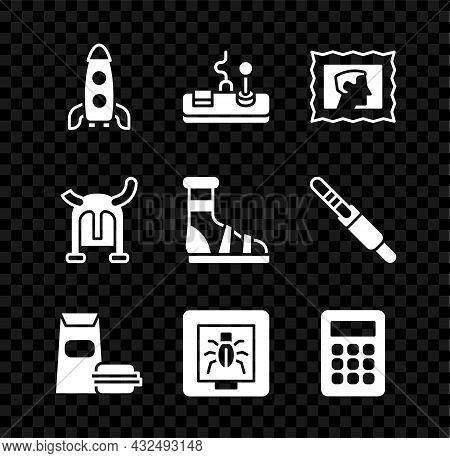 Set Rocket Ship, Gamepad, Postal Stamp, Burger, Insects In Frame, Calculator, Viking Horned Helmet A