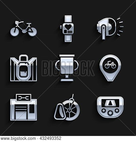 Set Award Cup With Bicycle, Bicycle Parking, Gps Device Map, Location, Repair Service, Hiking Backpa