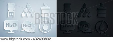 Set Chemical Formula For H2o, Big Bottle With Clean Water, Recycle Aqua, Water Drop And Cooler Icon.