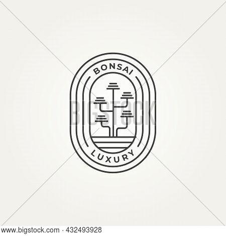 Luxury Bonsai Minimalist Line Art Icon Logo Badge Template Vector Illustration Design. Simple Modern