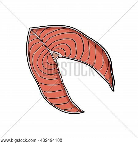 Vector Illustration Of Piece Of Fish Using Shades Of Pink And Outline.