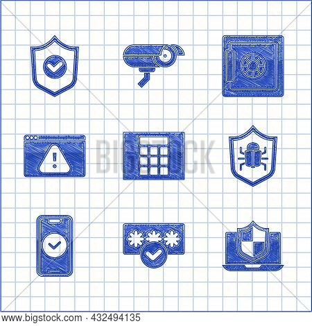 Set Password Protection, Laptop Protected With Shield, System Bug, Smartphone, Browser Exclamation M