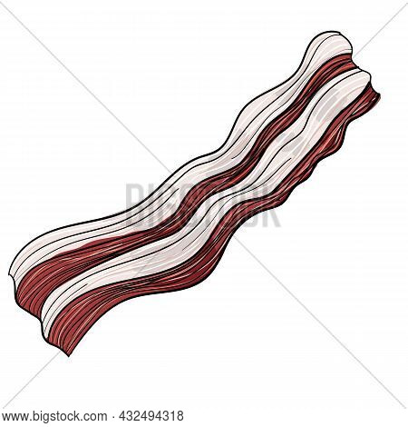 Vector Illustration Of A Slice Of Bacon Using White, Red, Pink And A Stroke.