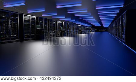 Rackmount Led Console In Server Room Data Center. Server. Room Servers Data Center. Backup, Mining,
