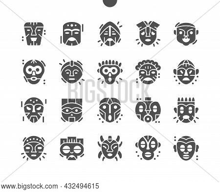 African Mask. Ritual Symbols. Tiki Masks, Tribal Wooden Totems, Polynesian Style Attributes, Scary F