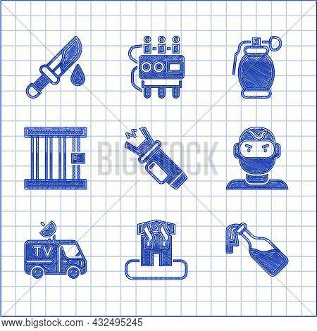 Set Police Electric Shocker, Arson Home, Cocktail Molotov, Thief Mask, Tv News Car, Prison Window, H