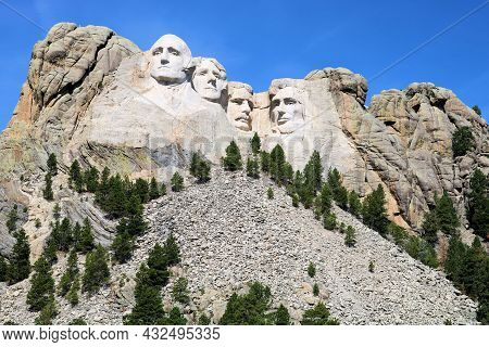 September 8, 2021 In Mt Rushmore, Sd:  Sculpted Faces Of Four Past Presidents Which Was Completed Du