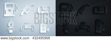 Set Metallic Pipes And Valve, Gas Tank For Vehicle, Oil Rig With Fire, Filling Station, Gasoline Pum
