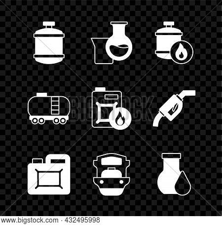 Set Propane Gas Tank, Oil Petrol Test Tube, Canister For Motor Oil, Tanker Ship, Railway Cistern And
